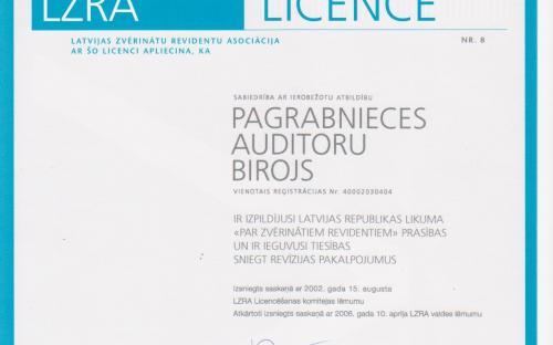 SIA Pagrabnieces auditoru birojs Sertifikāts Nr. 8